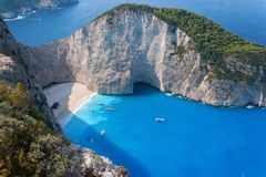 Navagio, Zakynthos island, Grece Royalty Free Stock Photos