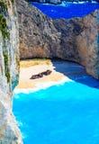 Navagio zatoka i statku wrak Zakynthos, Grecka wyspa w Ionian morzu Obrazy Stock