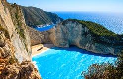 Navagio zatoka i statku wrak Zakynthos, Grecka wyspa w Ionian morzu Zdjęcie Stock