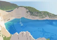 Navagiostrand bij het eiland van Zakynthos Stock Afbeeldingen