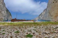 Navagiostrand met schipbreuk Stock Foto's