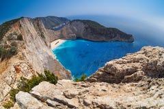 Navagiostrand, Schipbreuk, Zakynthos Griekenland Royalty-vrije Stock Foto