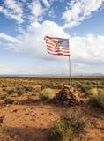 Navajo American flag - Monument Valley scenic panorama on the road - Arizona, AZ Royalty Free Stock Image