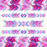 Navajo aztec textile inspiration watercolor pattern. Native amer. Ican indian tribal  hand drawn art Stock Photography
