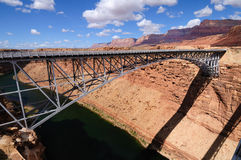 Navajo Bridge. Crosses the Colorado river at Marble Canyon. It is the only bridge crossing the Colorado river for 600 miles to the south. Glen Canyon is crossed royalty free stock photo