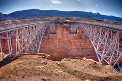 Navajo Bridge over the Grand Canyon. Navajo Bridge crosses the Colorado River's Marble Canyon near Lee's Ferry in the U.S. state of Arizona Royalty Free Stock Image