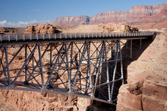 Navajo Bridge over the Grand Canyon. Navajo Bridge crosses the Colorado River's Marble Canyon near Lee's Ferry in the U.S. state of Arizona Stock Photo