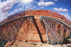 The Navajo Bridge over the River Colorado. The famous double Navajo Bridge over the River Colorado separately for transport and for pedestrians Stock Photos