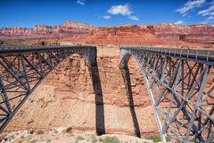 Navajo Bridge, Route 89a, Arizona. Two steel arch bridges at Marble canyon on route 89a, right bridge built in 1928 Stock Photos