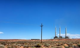 Navajo coal burning station for generating electricity in Arizona desert. Coal burning station for generating electric power in Arizona state stock photo
