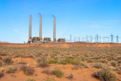 Navajo Generating Station. Coal-fired powerplant located on the Navajo Nation, near Page, Arizona United States stock images