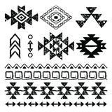 Navajo hand drawn print, retro Aztec pattern, Tribal design elements with scratches Stock Image