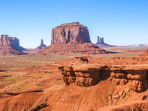 Navajo Indian on a horse in Monument Valley Royalty Free Stock Photography