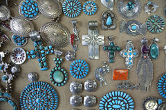 Navajo Indian Jewellery. A display of Navajo Indian jewellery Stock Image