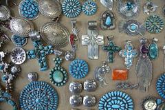 Navajo Indian Jewellery. A display of Navajo Indian jewellery stock image