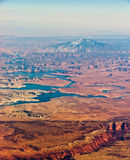 Navajo Mountain aerial. View with river stock photo
