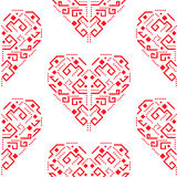 Navajo red heart shape ornament seamless vector pattern. Stock Photography