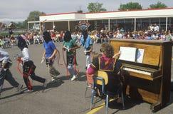 Navajo school children in a procession, Blanding Elementary School, UT Stock Photo