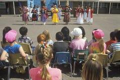 Navajo schoolchildren performing traditional dance at Blanding Elementary School, UT Stock Photography