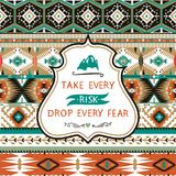 Navajo seamless colorful tribal pattern with elementes quotes on labels. Navajo seamless colorful  tribal pattern Stock Photography