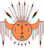 Navajo Sun. A symbolic representation of the Navajo sun, inspired by Navajo sandpaintings. This type of permanent sandpainting appeared for the first time in the Stock Image