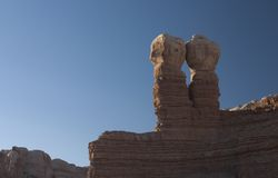 Navajo Twins rock formation. The Navajo Twins are a phallic looking rock formation that stand above a trading post, Utah, USA Royalty Free Stock Photos