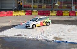Navak car driving school presentation on Belgrade car show Stock Images