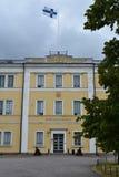 The Naval Academy Merisotakoulu in Suomenlinna Sea Fortress on a gloomy, summer day stock photo