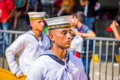 Naval academy students participate in Colombia's most important Stock Photo