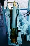 Naval artillery loader. Details of a naval artillery loader on the deck of a destroyer Royalty Free Stock Photo
