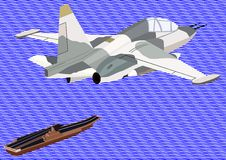 Naval aviation. Airforce. Military aircraft against an abstract image of the sea and an aircraft carrier Stock Images