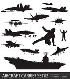 Naval aviation silhouettes. Aircraft carrier and naval aircrafts high detailed silhouettes set#2. Vector Stock Images