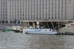 """Naval Board â""""– 001 of the President of the Russian Federation and the Commander-in-Chief of the Russian Army. On the Moscow River, summer in Moscow, in stock images"""