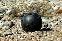 Naval bomb at the seaside Stock Images