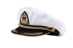 Naval cap with a visor. On white background Royalty Free Stock Photos