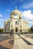The Naval cathedral in Kronstadt on Yakornaya ploshchad. The Naval cathedral of Saint Nicholas in Kronstadt on Yakornaya ploshchad, Russia Stock Photo
