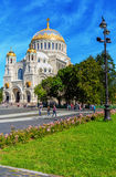 Naval cathedral of Saint Nicholas in Kronstadt Stock Photos