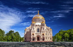 The Naval cathedral of Saint Nicholas in Kronstadt under blue sky Royalty Free Stock Images