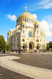 The Naval cathedral of Saint Nicholas in Kronstadt on Yakornaya ploshchad. Russia Royalty Free Stock Image