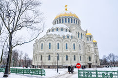 The Naval cathedral of Saint Nicholas in winter. Stock Photos