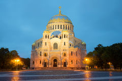 Naval Cathedral of St. Nicholas close up, white night. Kronshtadt Royalty Free Stock Images