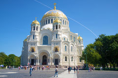 Naval Cathedral of St. Nicholas closeup of a sunny day in July. Kronshtadt Stock Photos