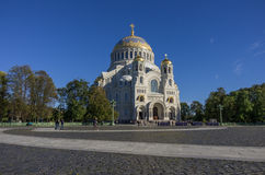 Naval Cathedral of St. Nicholas and the square with tourists and Stock Photos