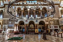 Naval cathedral of St. Nicholas the Wonderworker Nikolsky Stauropegic Naval Cathedral is the largest of the sea cathedrals. Of the Russian Empire. Interior stock images