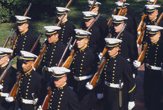 Naval Dress Parade. U.S. Naval Academy Midshipmen in formal dress for parade, Annapolis, Maryland Stock Images