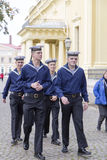 Naval fighters walkin in the street,moscow Royalty Free Stock Photography