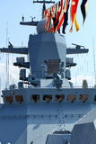 Naval flags on a warship. Military naval flags on a warship stock photography