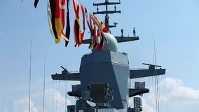 Naval flags on a warship stock video footage
