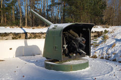 Naval gun of the period of the great Patriotic war to the position. Fort Krasnaya Gorka Stock Photo
