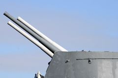 Naval guns. Large calibre weaponry on HMS Belfast stock photography